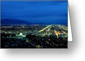 City Lights And Lighting Greeting Cards - Aerial View Of The City At Night Greeting Card by James P. Blair