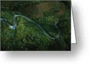River Scenes Greeting Cards - Aerial View Of The El Almandro Tinted Greeting Card by Stephen Alvarez