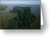 River Scenes Greeting Cards - Aerial View Of The James River Greeting Card by Ira Block