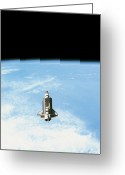 Research Greeting Cards - Aerial View Of The Space Shuttle In Orbit Above Earth Greeting Card by Stockbyte