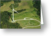 Munich Greeting Cards - Aerial View Of Wind Turbine Greeting Card by Daniel Reiter