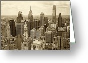 Hall Greeting Cards - Aerial View Philadelphia Skyline Wth City Hall Greeting Card by Jack Paolini