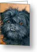 Dog Prints Greeting Cards - Affenpinscher Portrait Greeting Card by Dottie Dracos