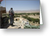 Police Officers Greeting Cards - Afghan Policeman Standing Greeting Card by Terry Moore