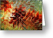 Aflame Greeting Cards - Aflame Greeting Card by Amanda Moore