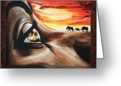 Sunset Posters Greeting Cards - Africa Greeting Card by Helene Fallstrom