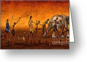 3d Graphic Greeting Cards - Africa Greeting Card by Jutta Maria Pusl