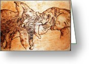 African Art Pyrography Greeting Cards - Africa wildlife -original pyrography finish Greeting Card by Egri George-Christian