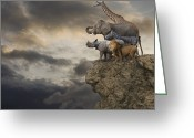 Sausalito Greeting Cards - African Animals On The Edge Of A Cliff Greeting Card by John Lund