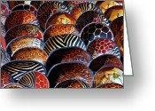 Wooden Bowls Greeting Cards - African art  wooden bowls Greeting Card by Werner Lehmann