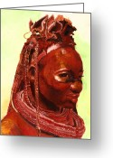 Ethnic Painting Greeting Cards - African Beauty Greeting Card by Enzie Shahmiri