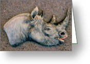 Wildlife Art Ceramics Greeting Cards - African Black Rhino Greeting Card by Dy Witt