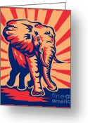 Creature Digital Art Greeting Cards - African Bull Elephant Charging Retro Greeting Card by Aloysius Patrimonio