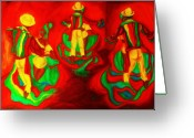 Portrait Specialist Greeting Cards - African Dancers Greeting Card by Carole Spandau