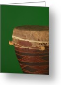 Drum Greeting Cards - African Drum On Green Backgound Greeting Card by Philip Haynes