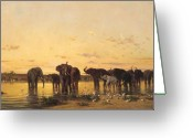 Puddle Painting Greeting Cards - African Elephants Greeting Card by Charles Emile de Tournemine