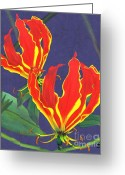 Lilies Tapestries - Textiles Greeting Cards - African Flame Lily Greeting Card by Sylvie Heasman