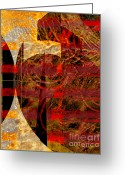 Vertical Abstract Greeting Cards - African Influence Greeting Card by Ann Powell
