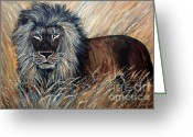 African Animals Painting Greeting Cards - African Lion 2 Greeting Card by Nick Gustafson
