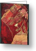 Diane Fine Mixed Media Greeting Cards - African Queen Greeting Card by Diane Fine
