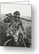 National Drawings Greeting Cards - African Warrior Greeting Card by Kathleen Fitzpatrick
