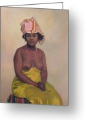 Signed Greeting Cards - African Woman Greeting Card by Felix Edouard Vallotton