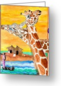 African Giraffes Greeting Cards - Africian Summer Greeting Card by Connie Valasco