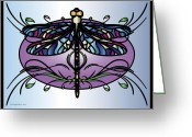 Jewel Tones Digital Art Greeting Cards - Afsanehs Dragonfly Greeting Card by Jeri Khajeh-Noori