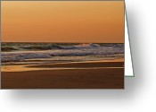 Surf Art Greeting Cards - After A Sunset Greeting Card by Sandy Keeton