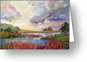 Impressionist Mixed Media Greeting Cards - After Glow Landscape Painting Greeting Card by Marty Husted