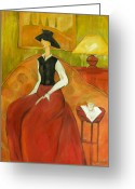 Oil Lamp Greeting Cards - After Ludmila Curilova Greeting Card by Becky Kim