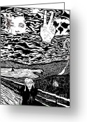 Roberto Edmanson-harrison Greeting Cards - after MUNCH Greeting Card by Roberto Edmanson-Harrison