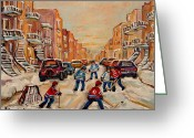 Hockey On The Streets Of Montreal Greeting Cards - After School Hockey Game Greeting Card by Carole Spandau