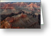 Wonders Of Nature Greeting Cards - After sunset colors in the Grand Canyon Greeting Card by Pierre Leclerc