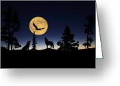 Wolves Mixed Media Greeting Cards - After Sunset Greeting Card by Shane Bechler