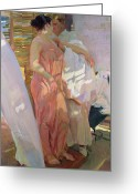 Boudoir Greeting Cards - After the Bath Greeting Card by Joaquin Sorolla y Bastida