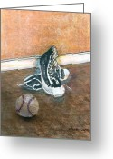 Baseball Mixed Media Greeting Cards - After The Game Greeting Card by Arline Wagner
