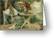 Bench Greeting Cards - After the Masquerade Greeting Card by Greg Olsen