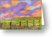 Split Rail Fence Drawings Greeting Cards - After The Storm Greeting Card by Carol Wisniewski