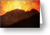 Mountain Texture Greeting Cards - Afterglow Greeting Card by Andrew Paranavitana