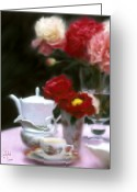 Reds Mixed Media Greeting Cards - Afternnon Tea With Peonies Greeting Card by Stephen Lucas