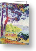 Pointillist Painting Greeting Cards - Afternoon at Pardigon Greeting Card by Henri-Edmond Cross