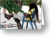 Merchant Greeting Cards - Afternoon in Jamaica Greeting Card by Marjorie Imbeau
