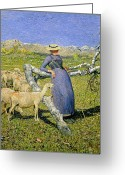 Shepherdess Painting Greeting Cards - Afternoon in the Alps Greeting Card by Giovanni Segantini