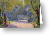 Park Benches Greeting Cards - Afternoon in the Park Greeting Card by Hippolyte Petitjean