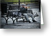 Park Benches Greeting Cards - Afternoon Music Greeting Card by Perry Webster