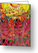 Landscape Glass Art Greeting Cards - Afternoon on the porch Greeting Card by Cornelia Tersanszki