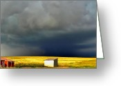 Gray Sky Greeting Cards - Afternoon Storm Greeting Card by Ellen Lacey