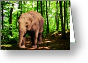 Elephant Watercolor Greeting Cards - Afternoon Stroll Greeting Card by Garry Staranchuk