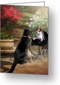 Funny Pet Picture Greeting Cards - Afternoon stroll Greeting Card by Gina Femrite